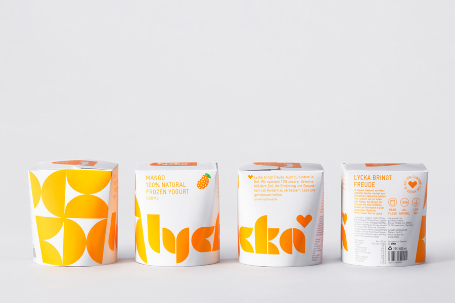Lycka by BVD – New logo and packaging by BVD for German 100% natural hand filled frozen yogurt Lycka