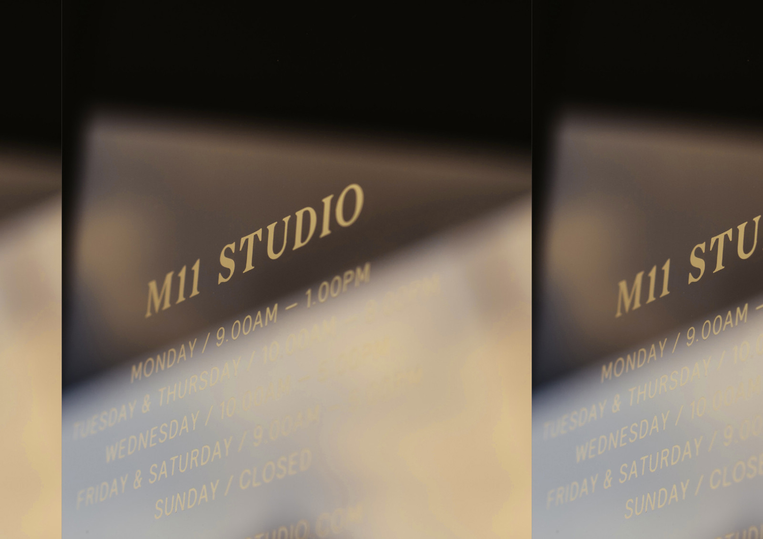 Brand identity and signage for Auckland-based luxe salon M11 designed by Inhouse, New Zealand