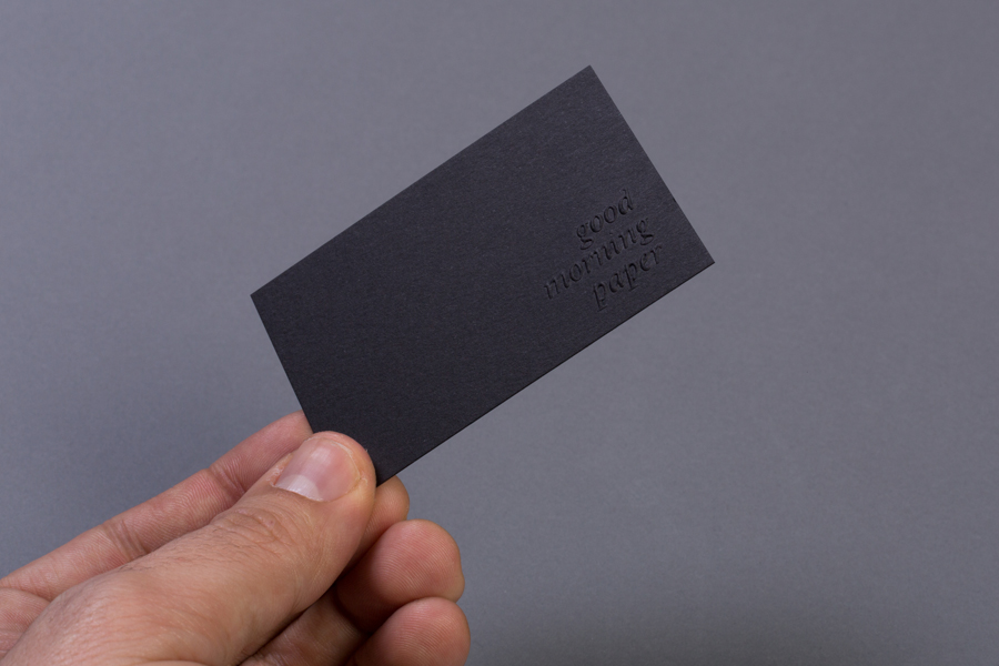 Business card design with blind emboss by Atipo for print production studio Minke