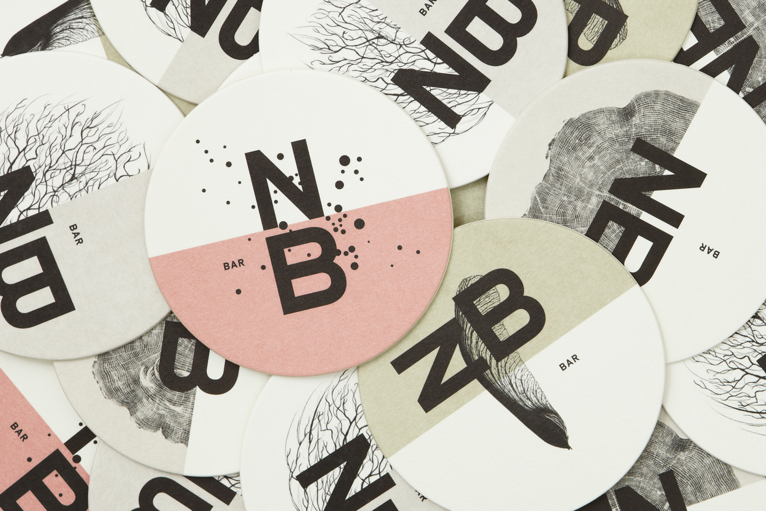 Brand identity and coasters for Toronto restaurant Nota Bene by graphic design studio Blok, Canada