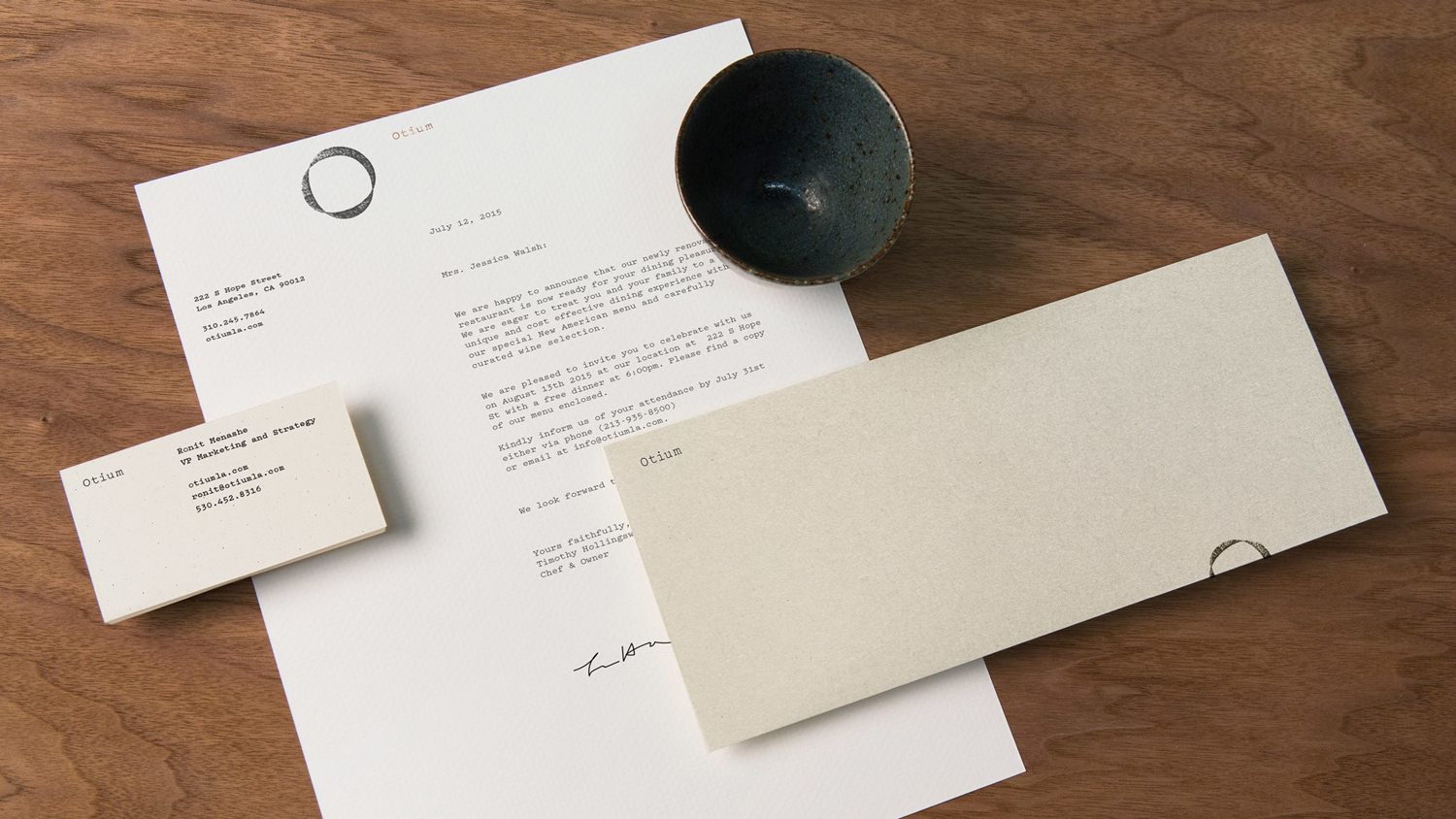 Logo, letterhead and business cards by Sagmeister & Walsh for contemporary restaurant Otium