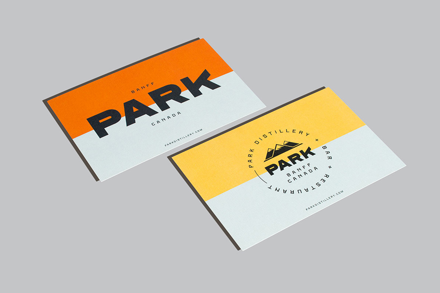 Logotype and business cards for Banff restaurant and distillery Park by Glasfurd & Walker