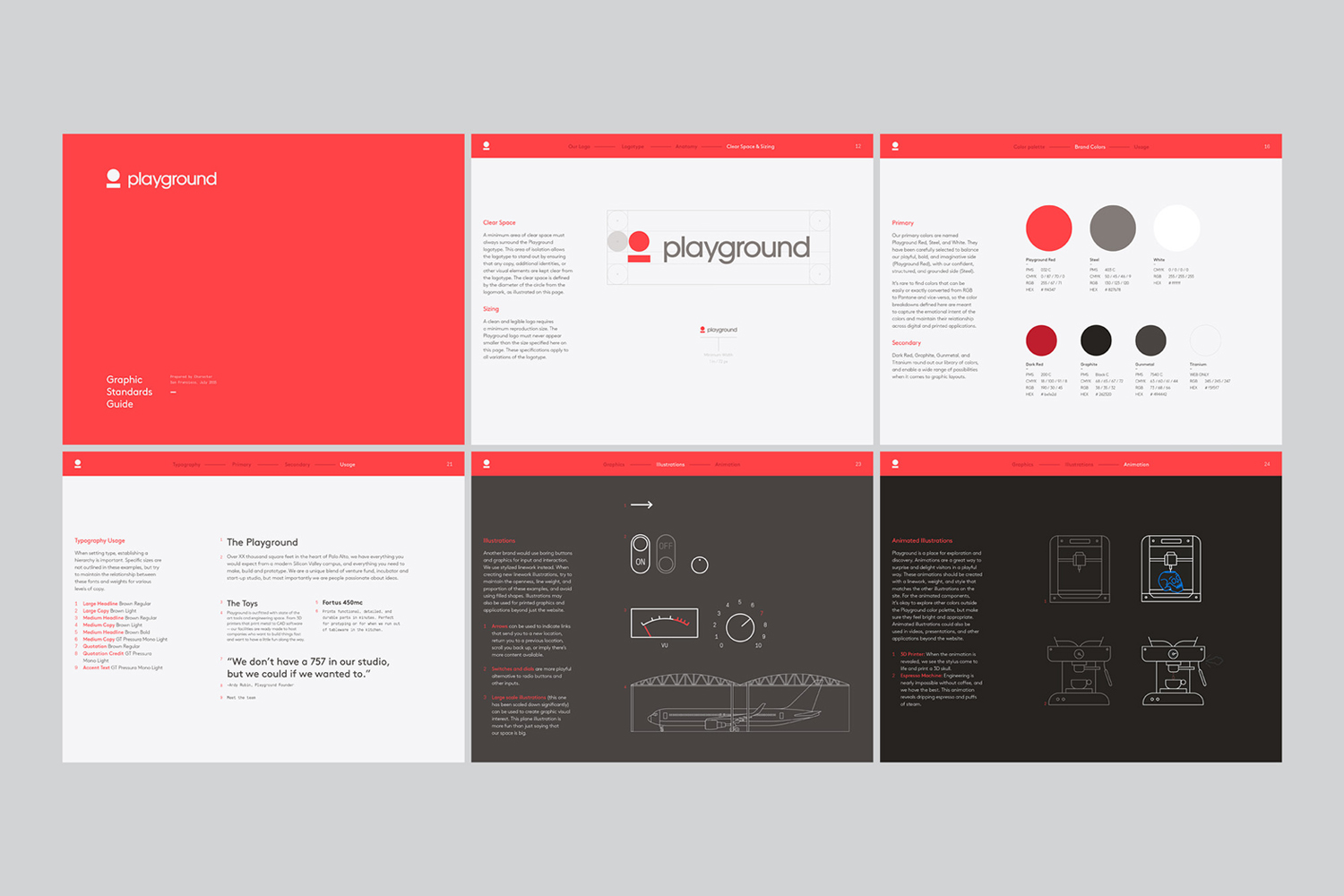 Brand guidelines for venture fund and start-up studio Playground by Character