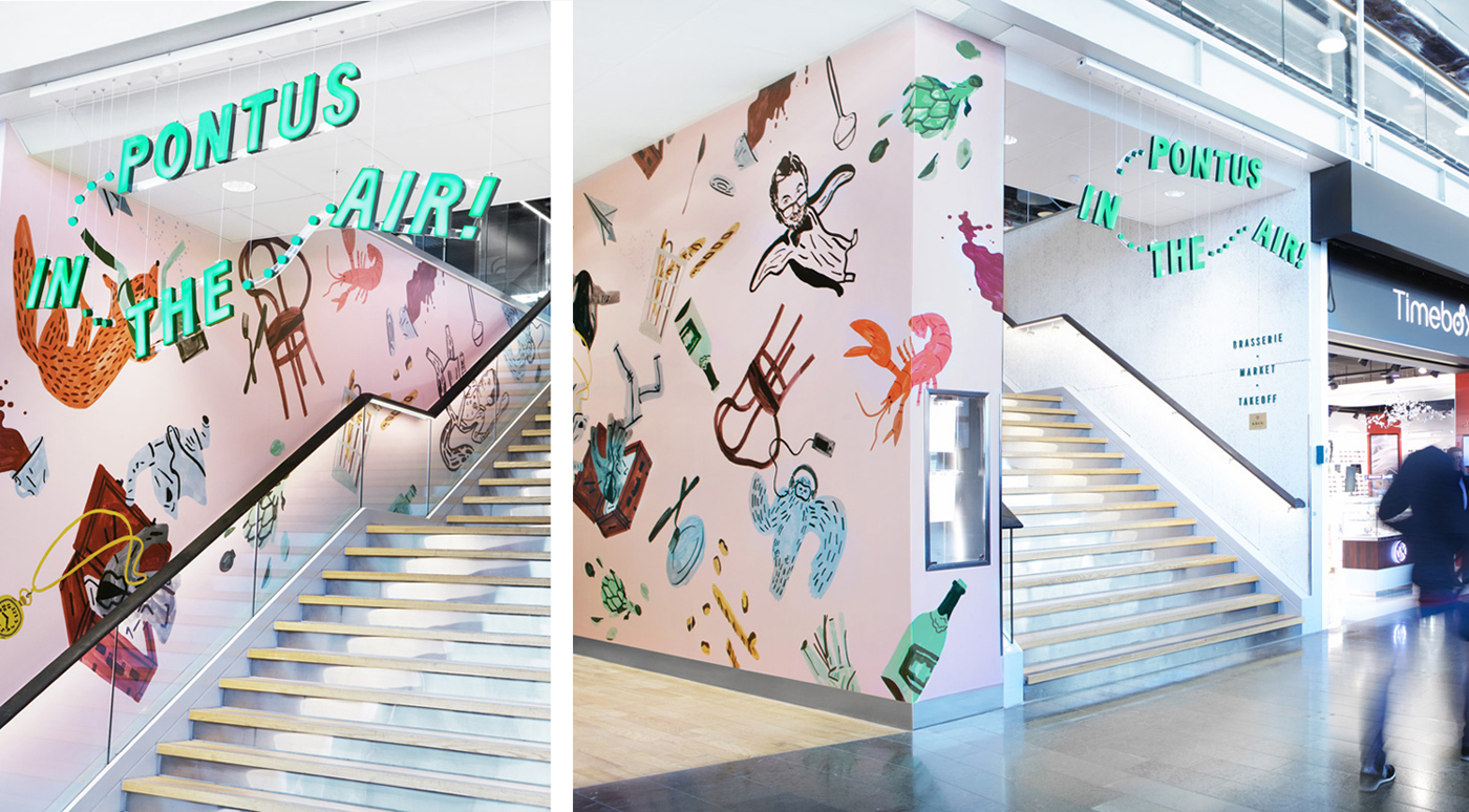 Logotype, signage and interior graphic by Stockholm-based Bold for Arlanda Airport restaurant Pontus In The Air