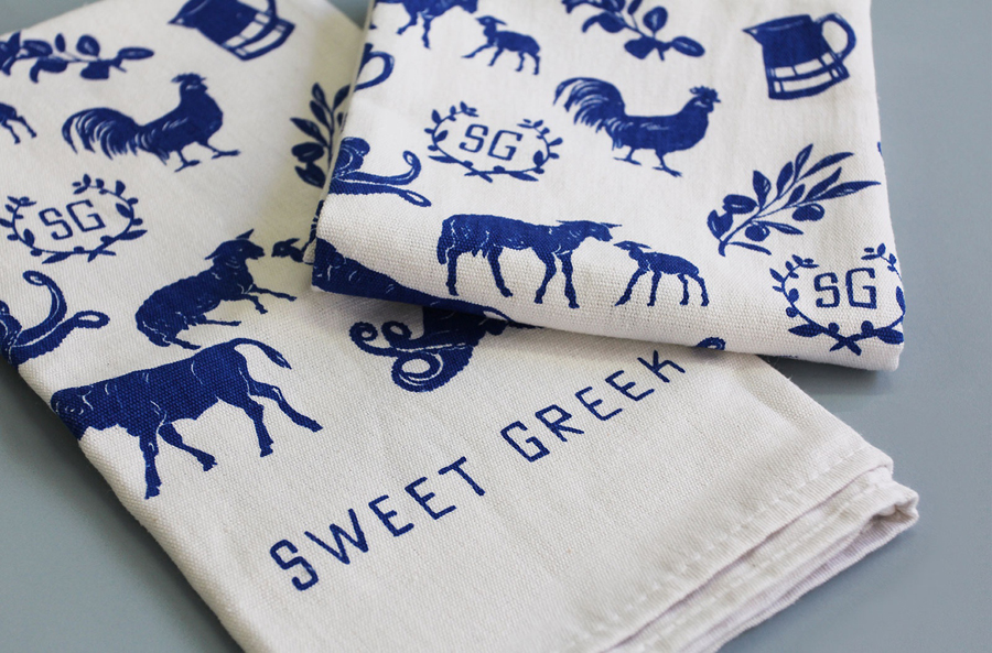 Logo and tea towel with illustrative detail for Melbourne food store Sweet Greek designed by Studio Bravo and Elise Lampe