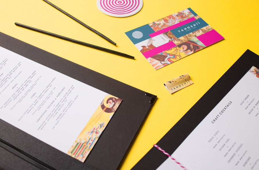 Menus, coasters and gift certificates for Dallas based ramen restaurant Tanoshii designed by Mast
