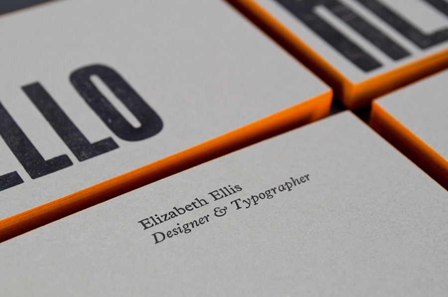Letterpress business card design with fluorescent edge painted detail for The Counter Press