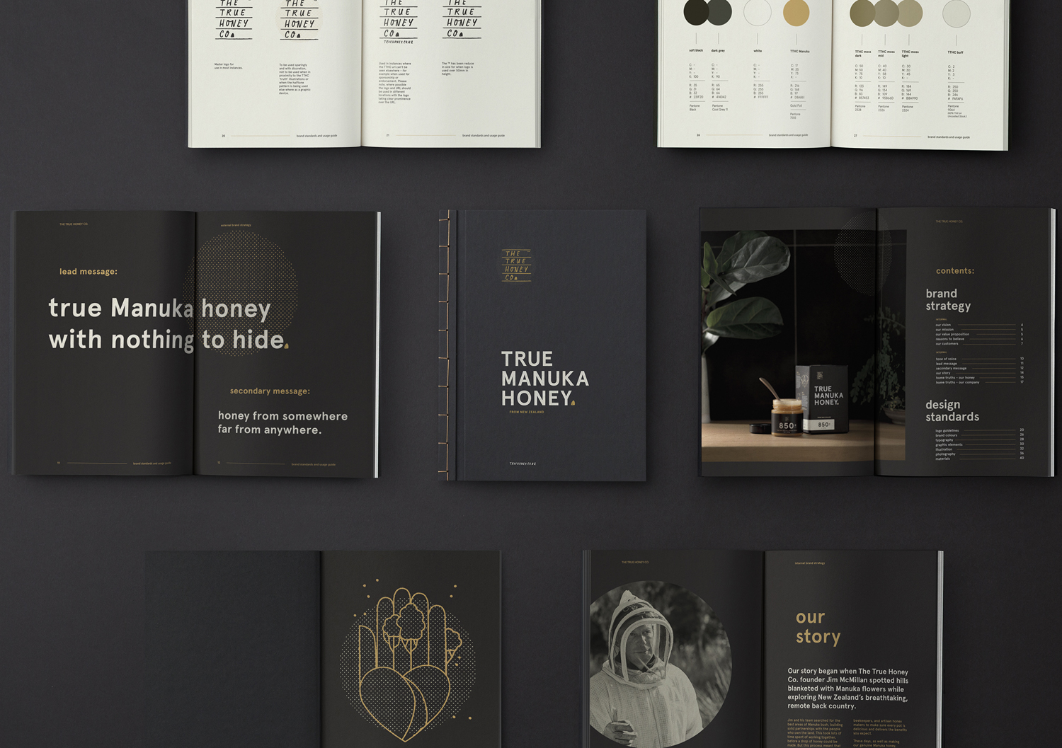 Brand guidelines by Marx Design for The True Honey Company, a New Zealand-based business specialising in mānuka honey