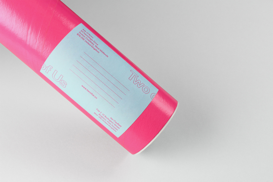 Postal tube and sticker for British brand identity design studio Two of Us