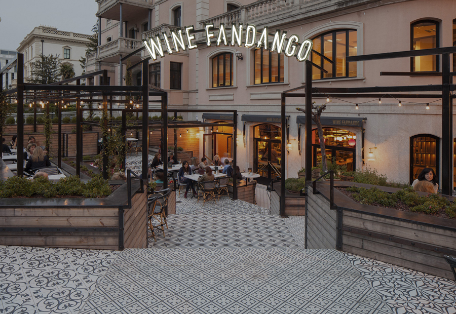 Exterior signage for Wine Fandango by graphic design studio Moruba