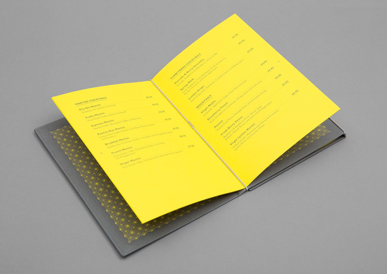 Brand identity and menu by Brighton-based Filthymedia for Boxpark Croydon's casual luxury restaurant Yumn