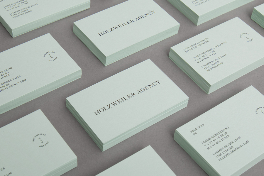 Pastel coloured business card design for fashion distributor Holzweiler by Bielke+Yang