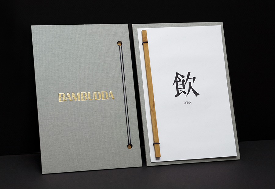 Menu with gold foil detail for Canadian Chinese restaurant Bambudda designed by Post Projects