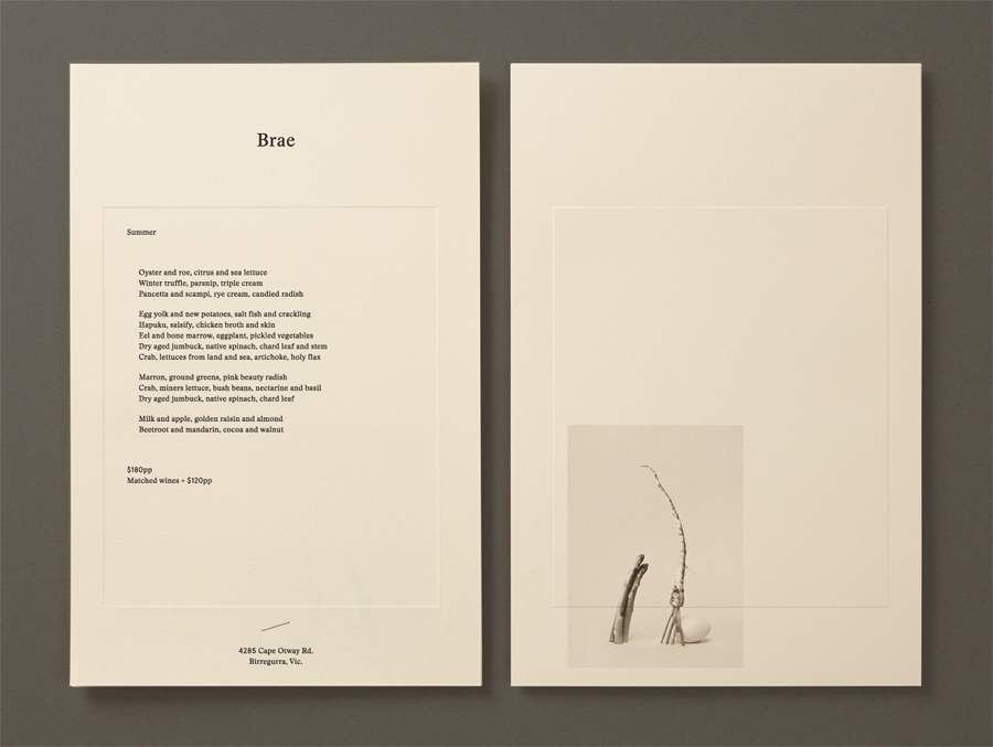 Menu with coloured paper and blind emboss detail for Australian restaurant Brae designed by Round