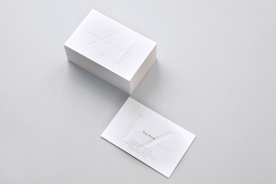 White blind embossed business card design by Construct for fashion and homeware store Celestine Eleven