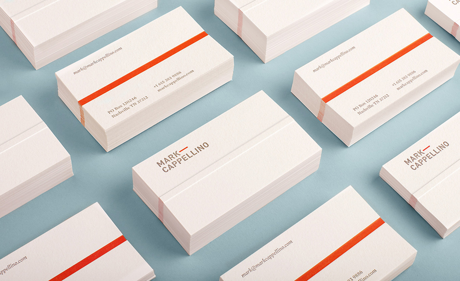 Embossed business card design for consultant Mark Cappellino by Perky Bros