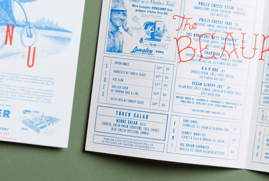 Menu with blue tinted photos for Melbourne based themed dive bar The Beaufort designed by The Company You Keep