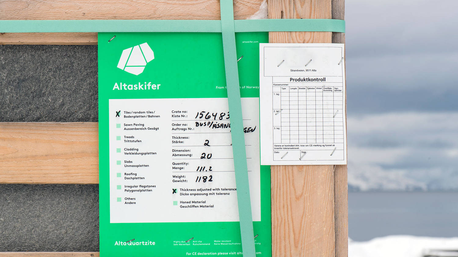 Brand identity and labelling for Alta Quartzite mining and sales business Altaskifer designed by Neue, Norway