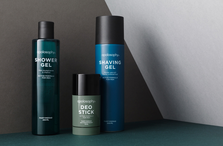 Logotype and packaging designed by BVD for Swedish cosmetic brand Apolosophy