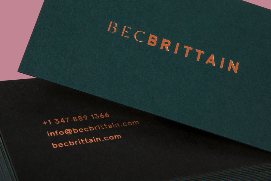 Copper block foiled coloured board business cards for Bec Brittain designed by Lotta Nieminen