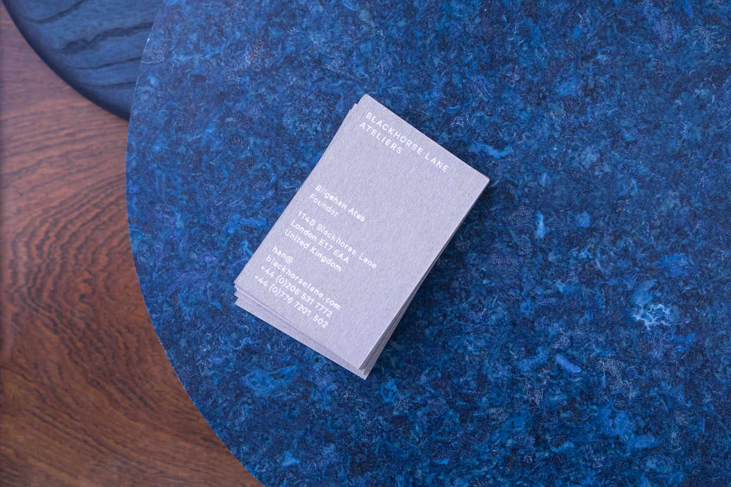 Logo and business cards by StudioSmall for premium selvedge and organic raw denim jeans brand Blackhorse Lane Ateliers.