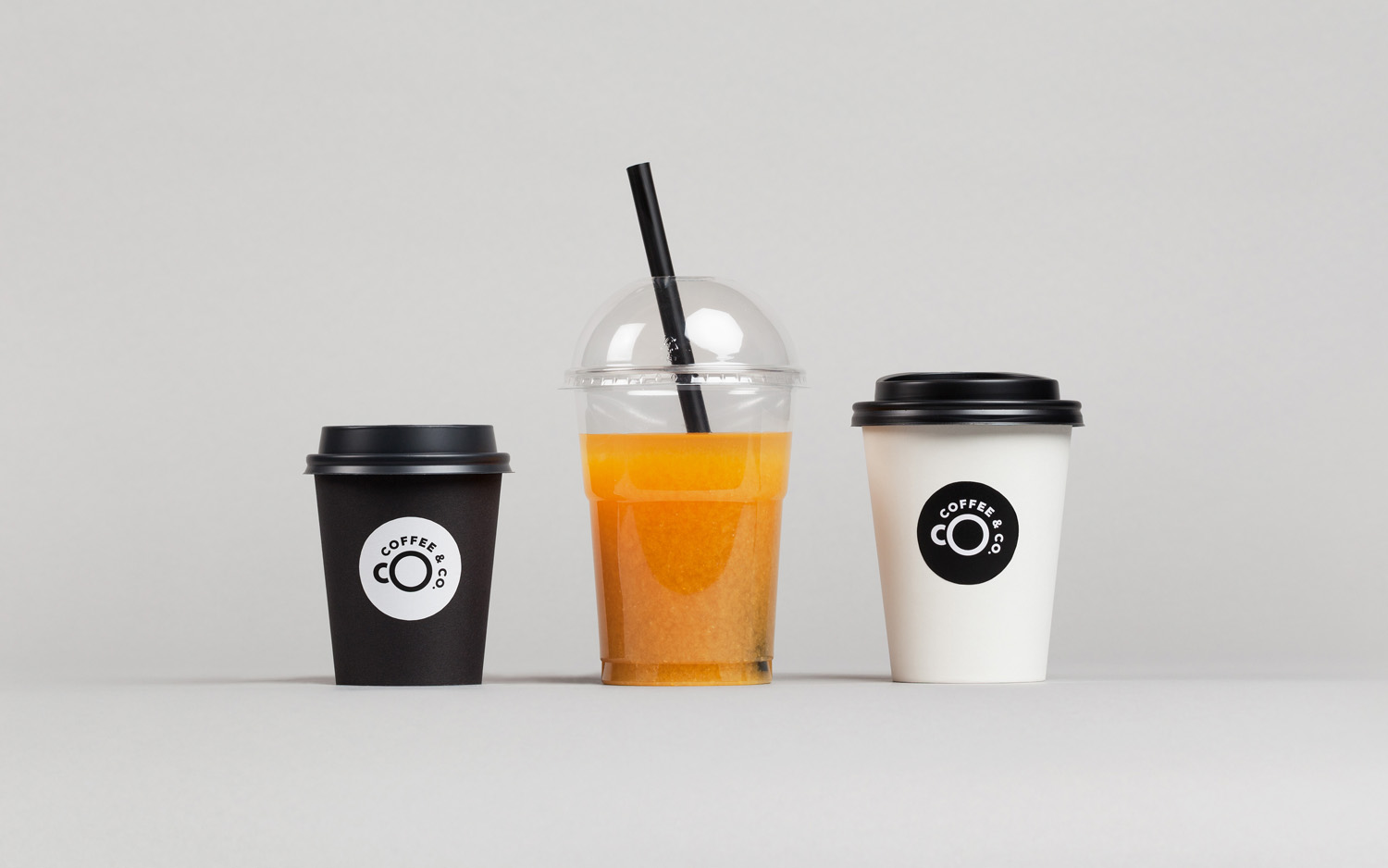 Brand identity and branded coffee cups by Bond for cruise ship cafeteria concept Coffee & Co.