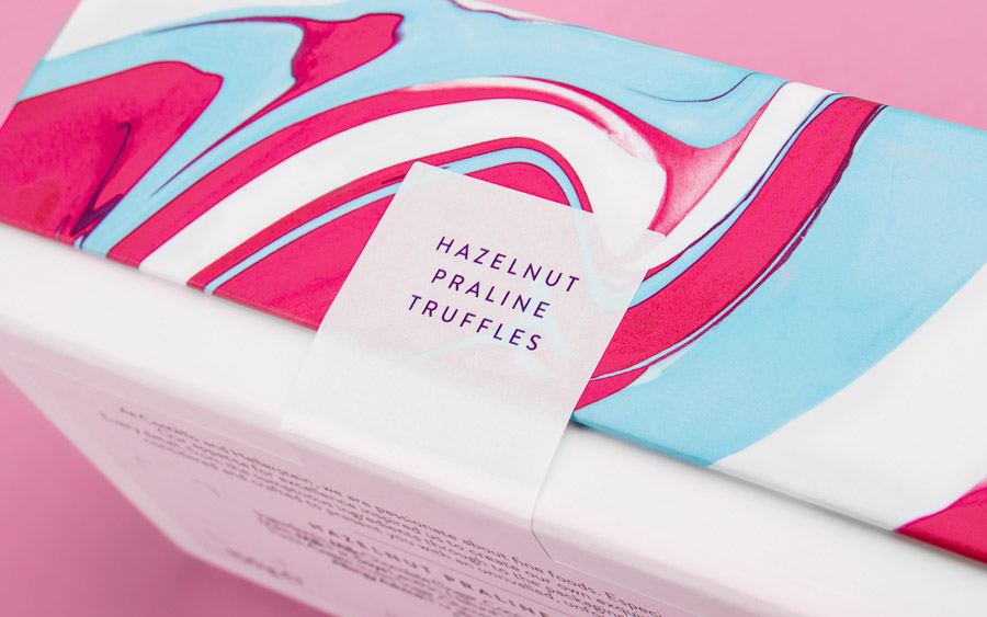 Packaging design by Robot Food for artisanal chocolate truffle business Costello + Hellerstein