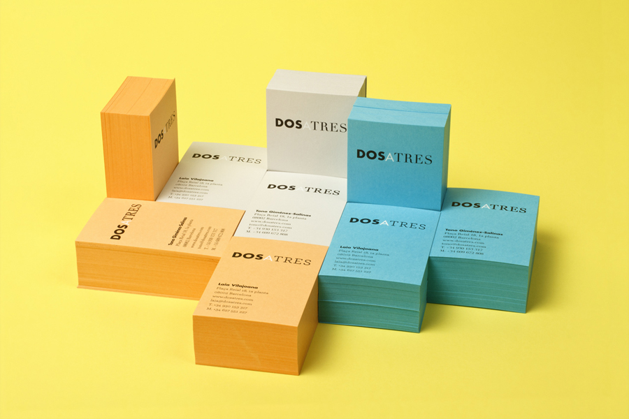 Coloured board business cards for Dosatres designed by Comite