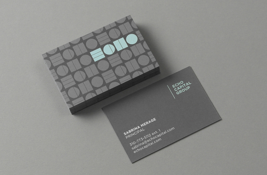 Logo, patterns and business cards designed by Trüf for investment firm Echo Capital