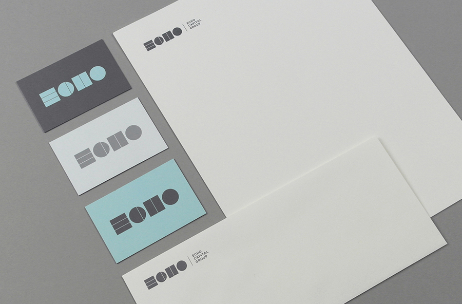 Logo, business cards, headed paper and compliment slip designed by Trüf for investment firm Echo Capital