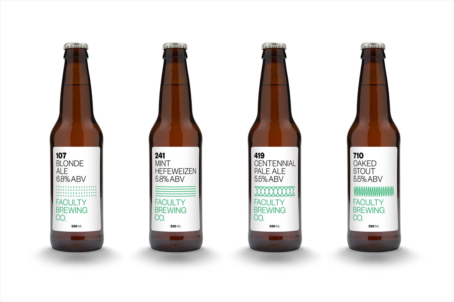 Craft beer branding and packaging by Canadian graphic design studio Post Projects for Faculty Brewing Co.