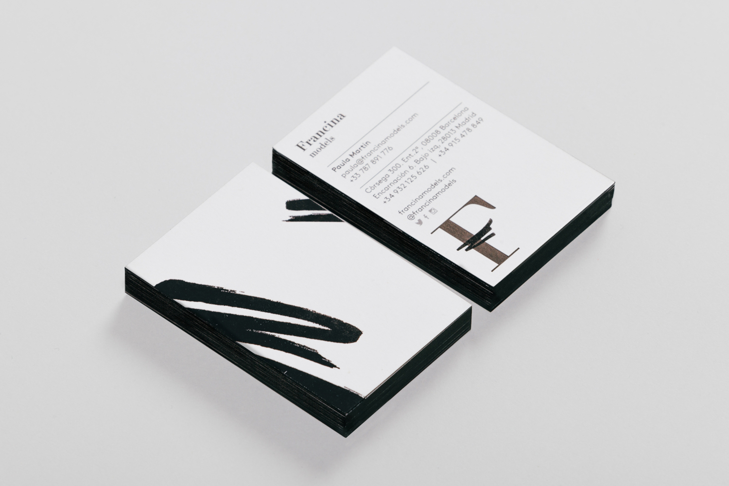 Edge painted business cards by graphic design studio Mucho for Barcelona-based model agency Francina Models
