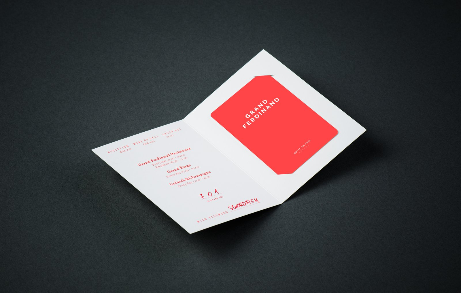 Brand identity and keycard sleeve for Vienna's Grand Ferdinand hotel by Austrian graphic design studio Moodley
