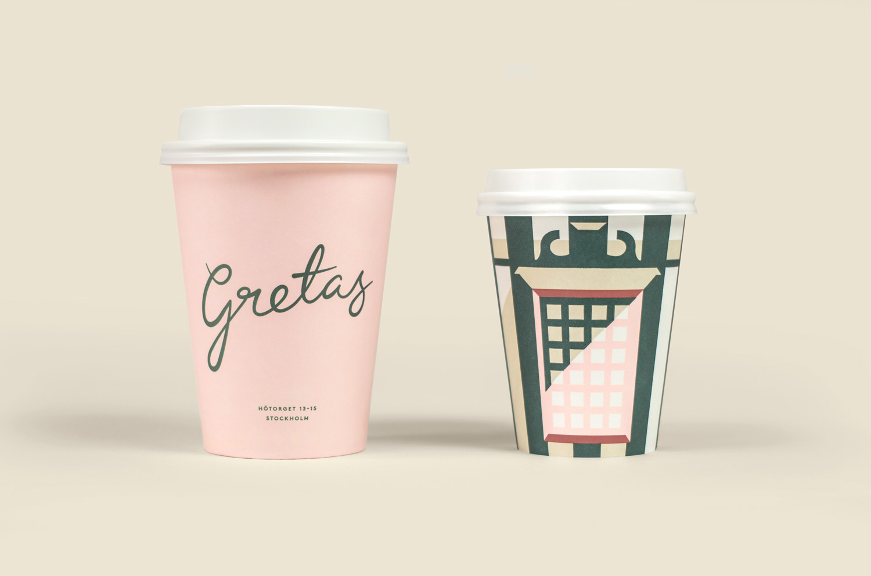 Branded coffee cups for Stockholm-based cafe Gretas at Haymarket designed by 25AH, Sweden