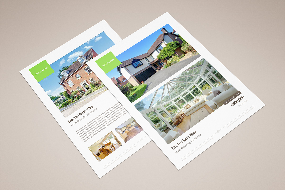 Properrty card designed by Parent for Romsey estate agent HenshawFox.