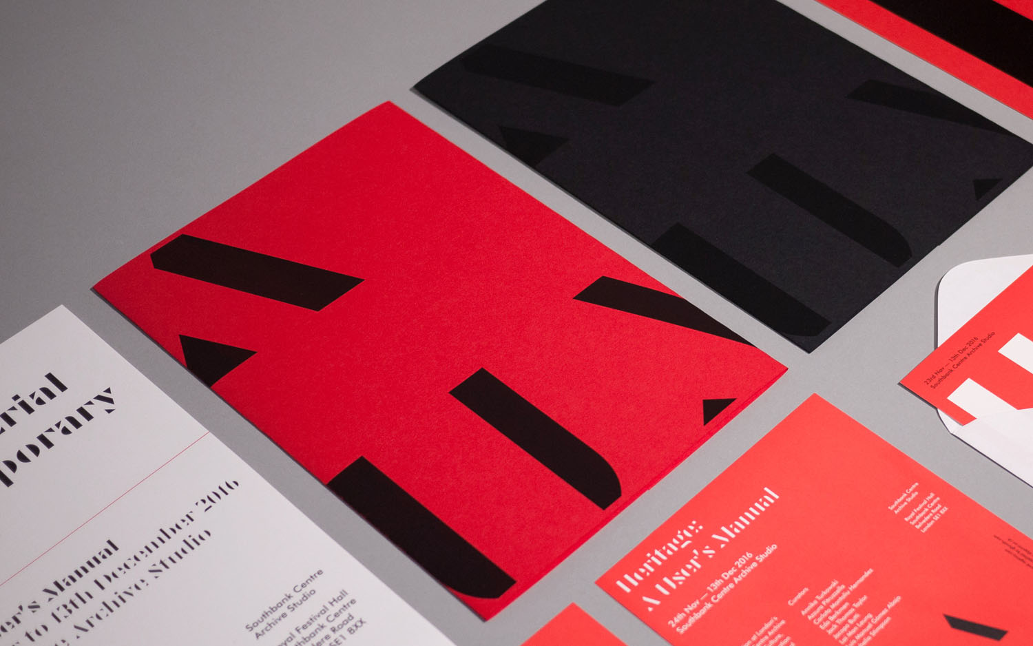Brand identity and print communication by Bond for Heritage: A User's Manual, an exhibition in London's Southbank Centre