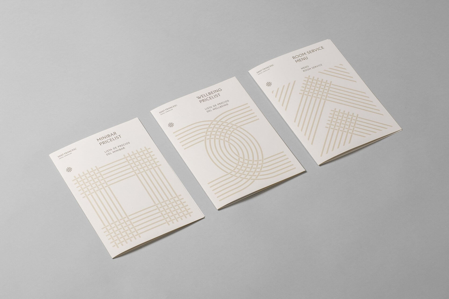 Brand identity and pricelists designed by Mucho for Spanish 5-star hotel Sant Francesc.