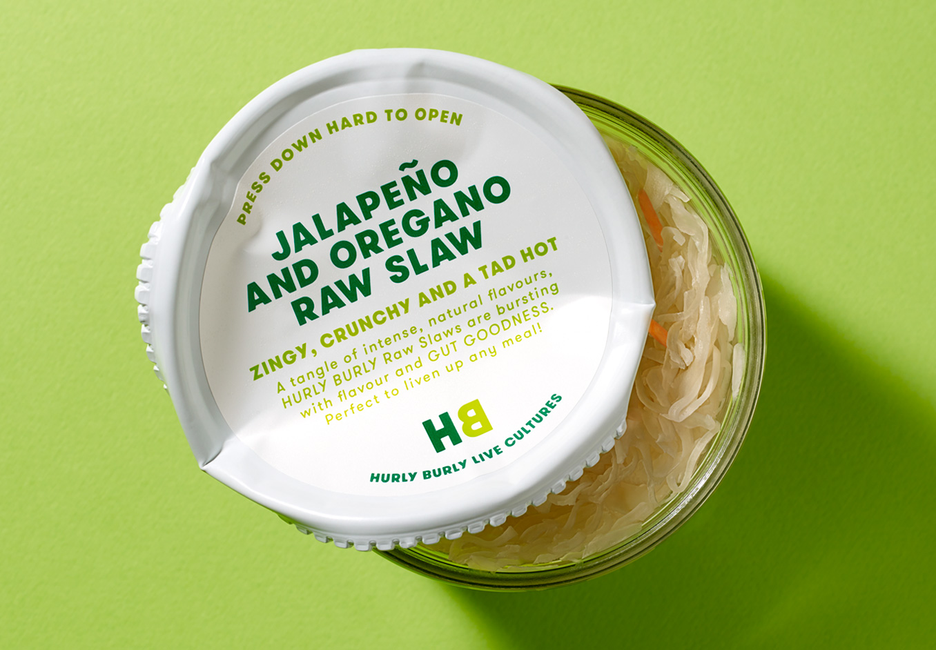Logotype, packaging and print by London-based Midday Studio for Hurly Burly and its range of raw slaw