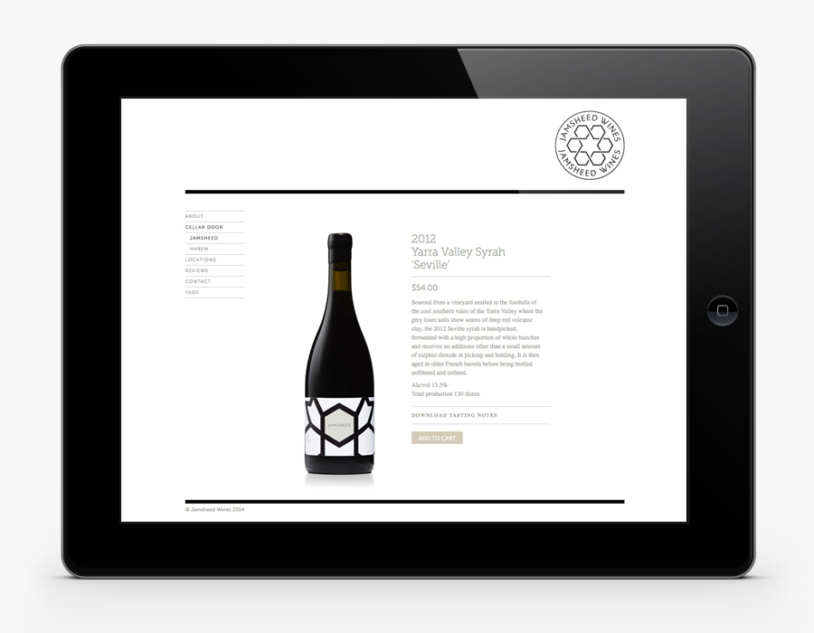 Logo and website design by Cloudy Co. for Yarra Valley boutique wine label Jamsheed