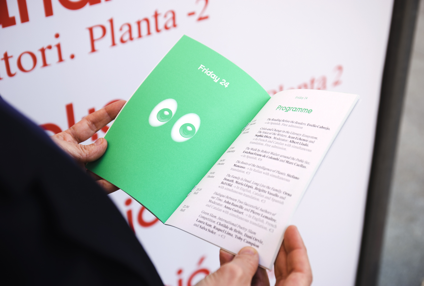 Visual identity and printed programme by Hey for Barcelona literature festival Kosmopolis