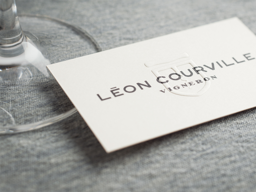 Blind embossed business card for wine producer Léon Courville Vigneron by lg2 boutique
