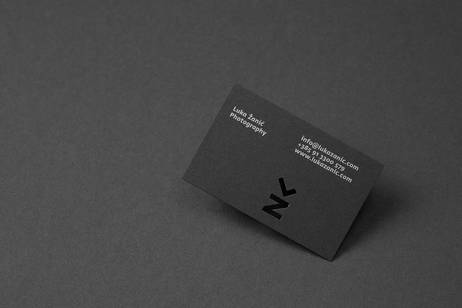 Business cards with die cut detail by Studio8585 for architectural photographer Luka Žanić