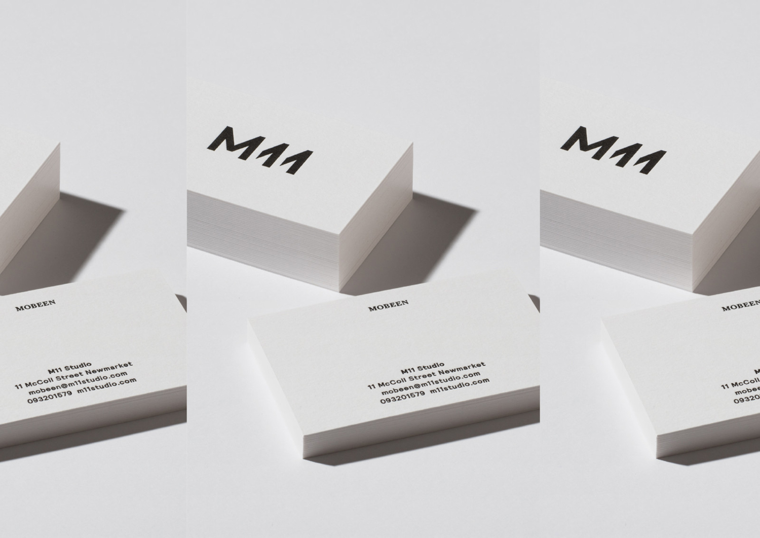 Brand identity and business cards for Auckland-based luxe salon M11 designed by Inhouse, New Zealand