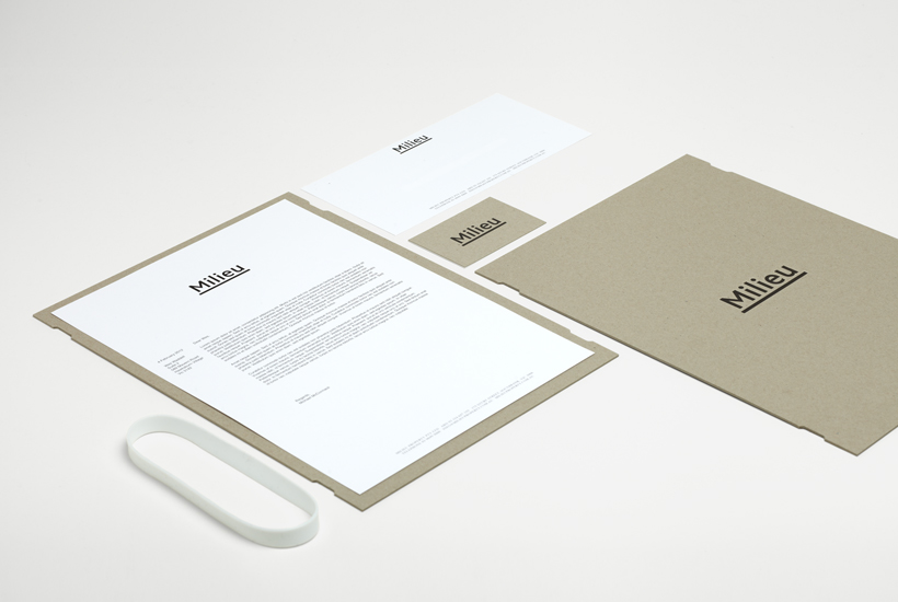 Logo and stationery with deboss and rubber band detail designed by Hi Ho for Melbourne-based boutique developer Milieu