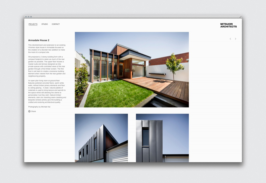 Logotype and website designed by Hunt & Co. for Melbourne based architectural design studio Mitsuori Architects