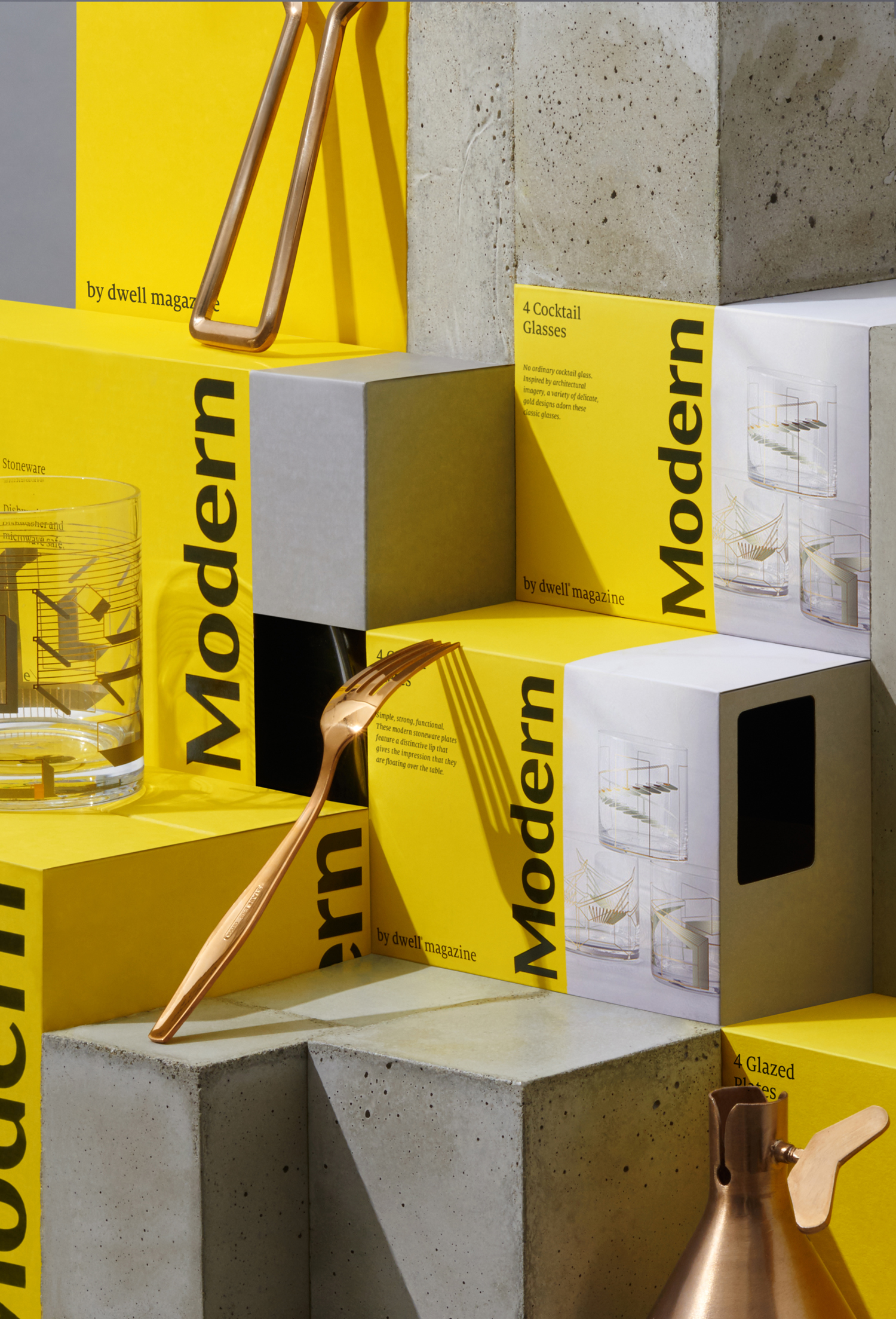 Branding and packaging by NY studio Collins for product and furniture range Modern by Dwell Magazine, a collaboration with Target.
