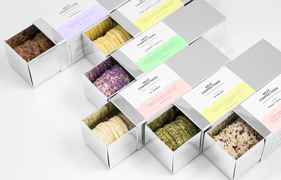 Mirrored card packaging designed by Anagrama for Mexican brand Neat Confections
