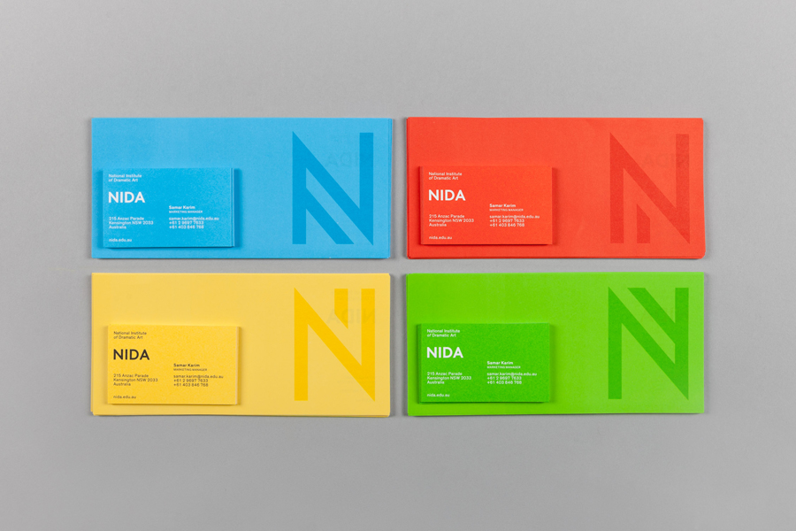 Colourful business cards for Nida Stationery by Maud