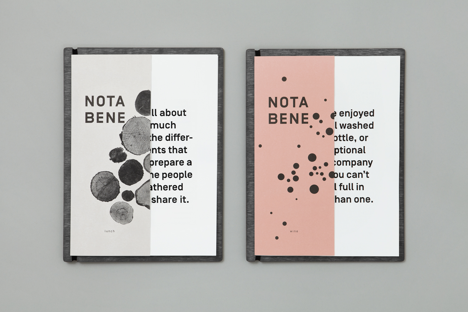 Brand identity and menu for Toronto restaurant Nota Bene by graphic design studio Blok, Canada