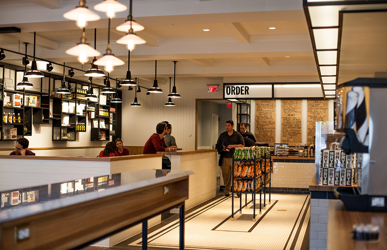 Brand identity and interior graphics by Pentagram for Washington DC sandwich shop On Rye